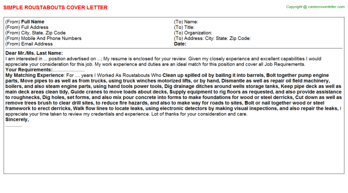 Roustabouts Job Cover Letter