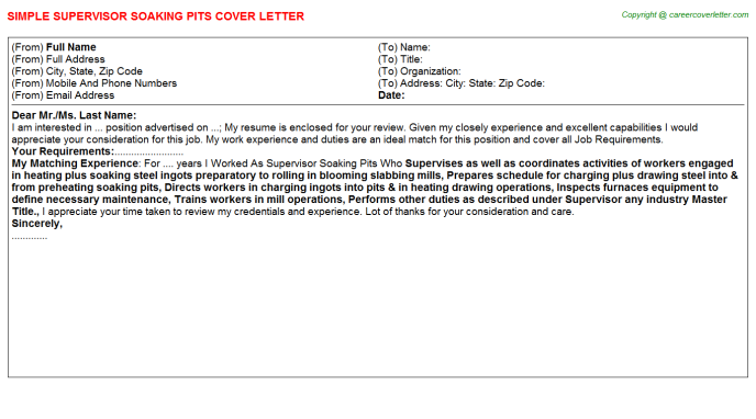 supervisor soaking pits cover letter template