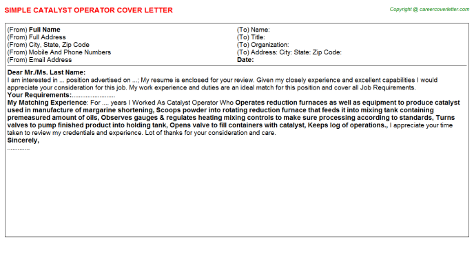 catalyst operator cover letter template