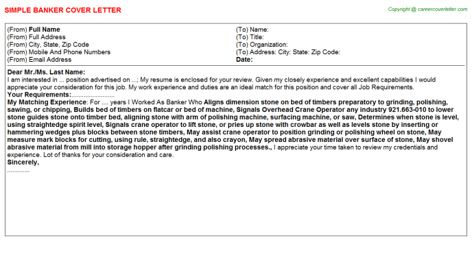 Banker Cover Letter Template