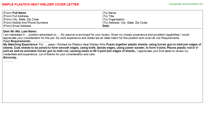 plastics heat welder cover letter template