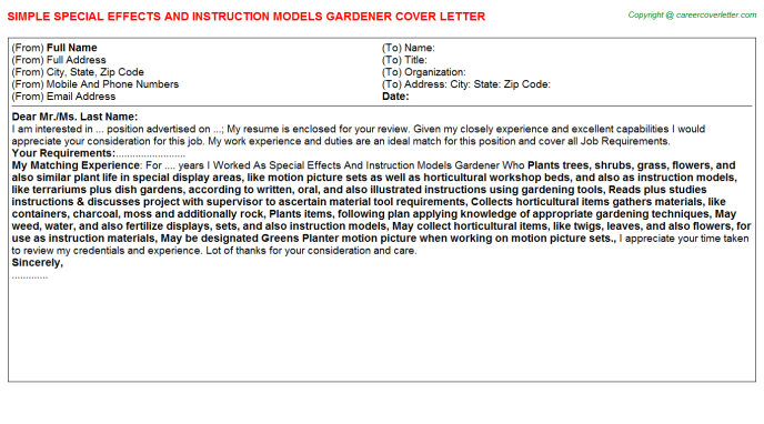Special Effects And Instruction Models Gardener Job Cover Letter Template