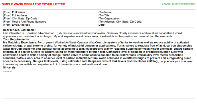 Wash Operator Cover Letter Template