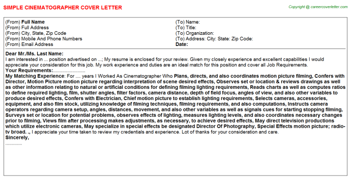 Cinematographer Job Cover Letter