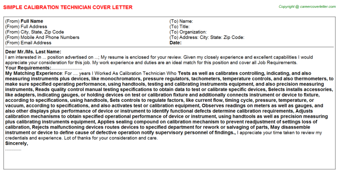 Calibration Technician Cover Letter