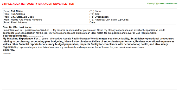Aquatic Facility Manager Cover Letters