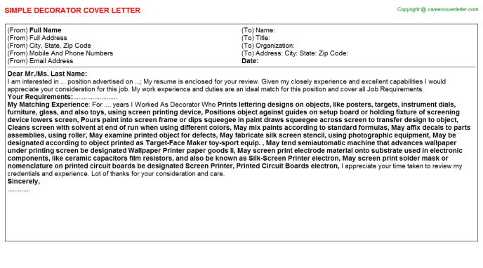Decorator Cover Letter Template