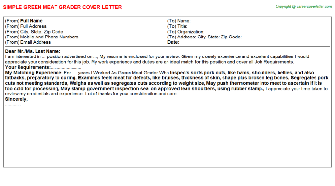 green meat grader cover letter template