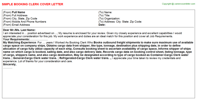 Booking Clerk Cover Letter