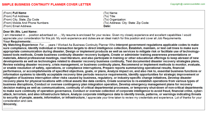 Business Continuity Planner Job Cover Letter Template