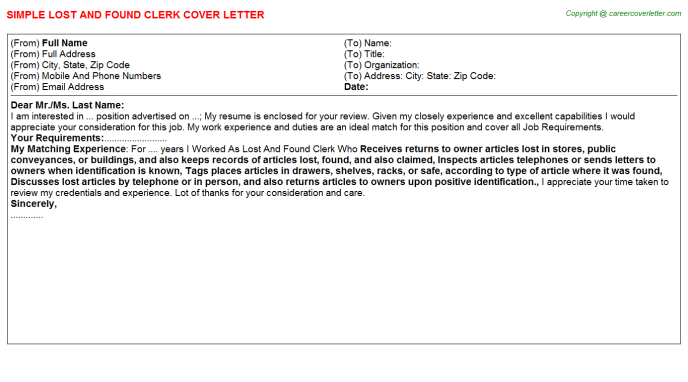 Lost And Found Clerk Cover Letters
