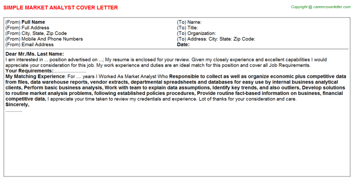 Market Analyst Cover Letter Template