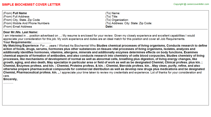 Biochemist Job Cover Letter Template