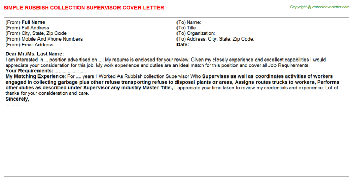 Rubbish Collection Supervisor Cover Letter Template