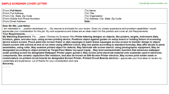 Screener Cover Letter Template