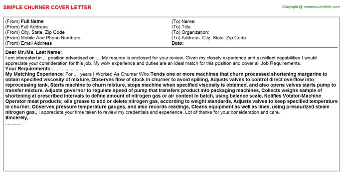 Churner Job Cover Letter Template