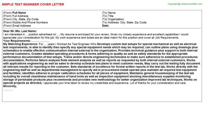 Test Engineer Cover Letter Template