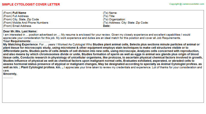 Cytologist Cover Letter Template