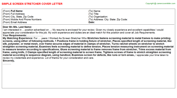 Screen Stretcher Cover Letter Template