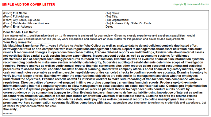 auditor cover letter template