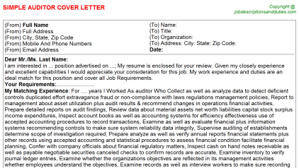 Auditor Job Cover Letter Template