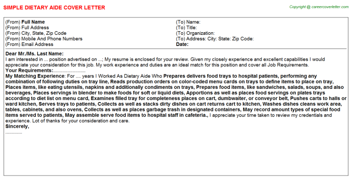 Dietary Aide Job Cover Letter
