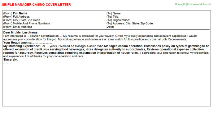 Manager Casino Job Cover Letter