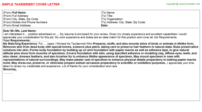 Taxidermist Cover Letter Template