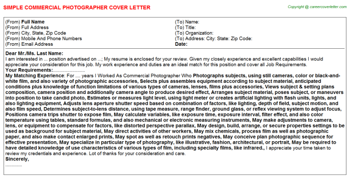 commercial photographer cover letter template