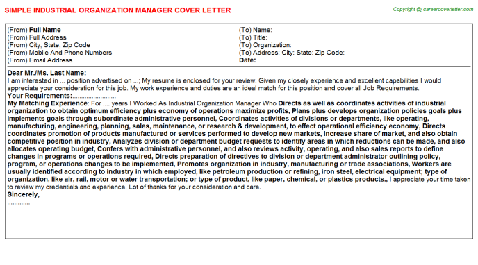 Industrial Organization Manager Job Cover Letter Template