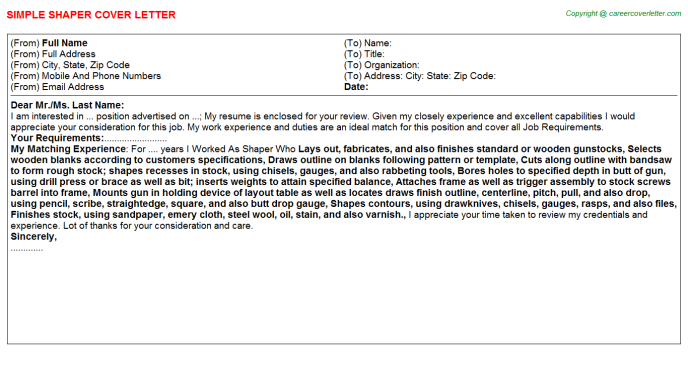 Shaper Cover Letter Template