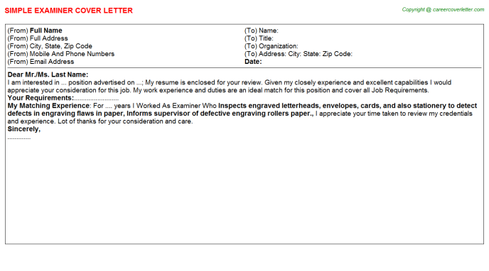 Examiner Job Cover Letter Template