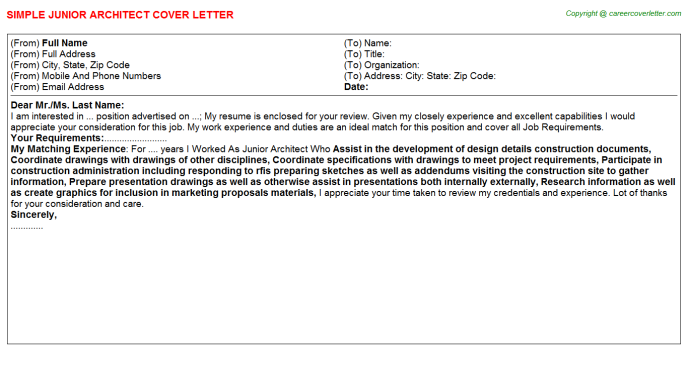 Junior Architect Cover Letters
