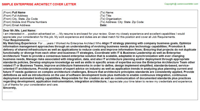 Enterprise Architect Job Cover Letter | Cover Letters