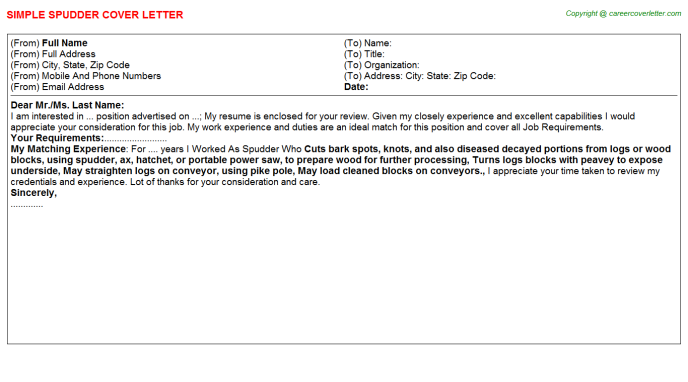 Spudder Cover Letter Template