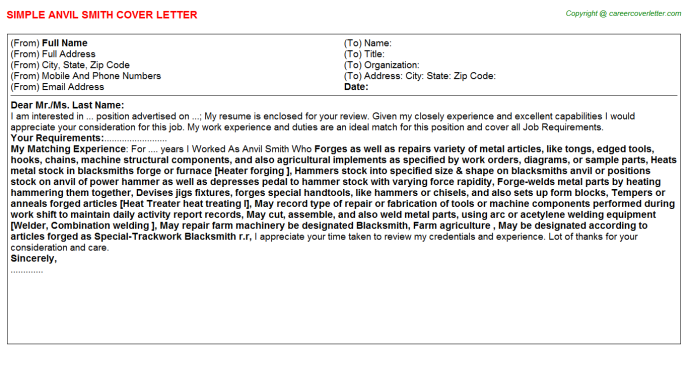 Anvil Smith Job Cover Letter Template