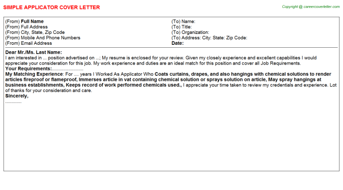 Applicator Cover Letter Template