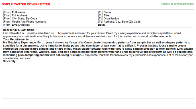 Caster Job Cover Letter Template