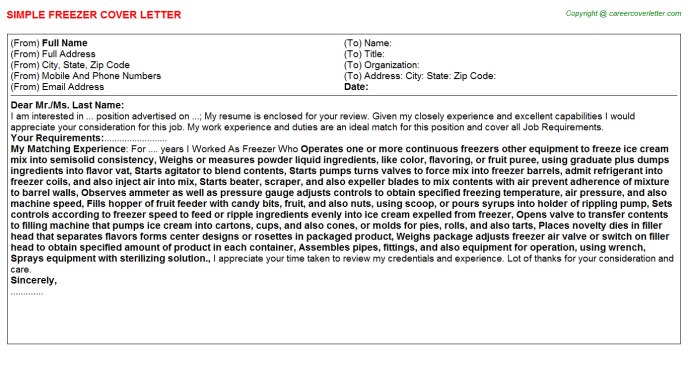 Freezer Cover Letter Template