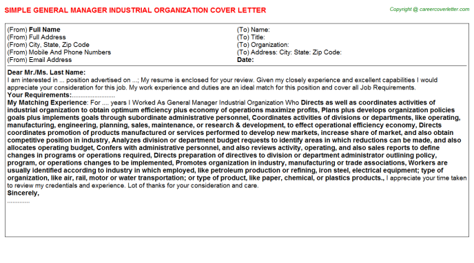 General Manager Industrial Organization Cover Letter Template