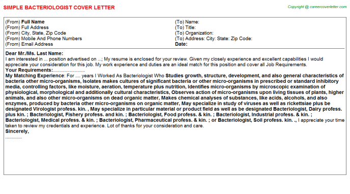Bacteriologist Cover Letter Template