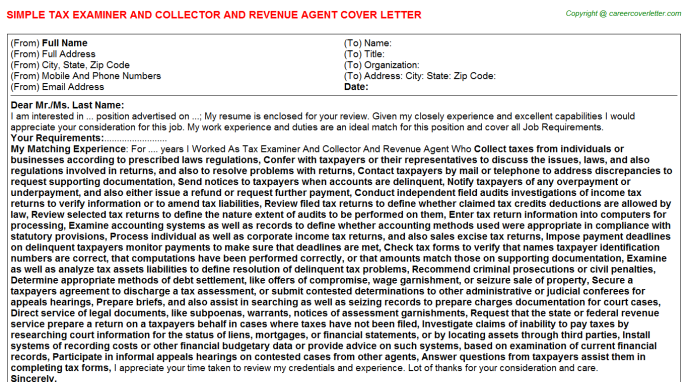 Tax Examiner And Collector And Revenue Agent Cover Letters