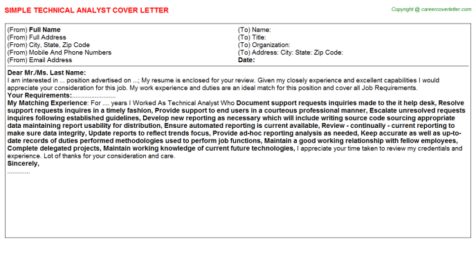 Technical Analyst Cover Letter Template