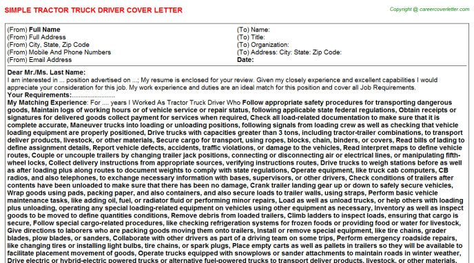 Tractor Truck Driver Cover Letter