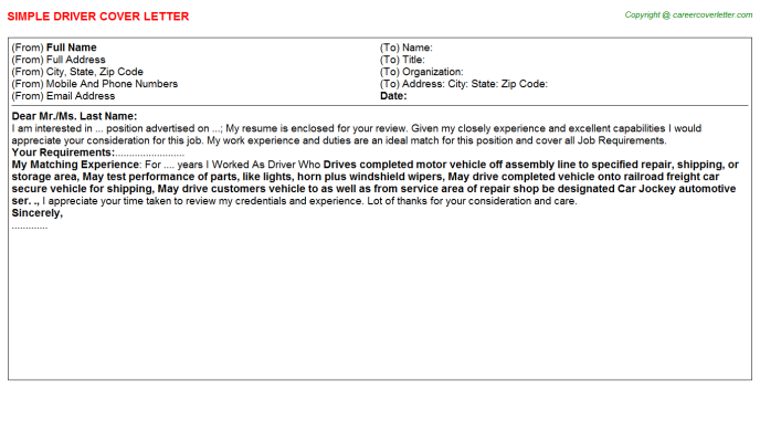 Driver Job Cover Letter Template