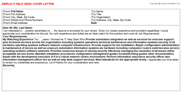 IT Help Desk Job Cover Letter Sample