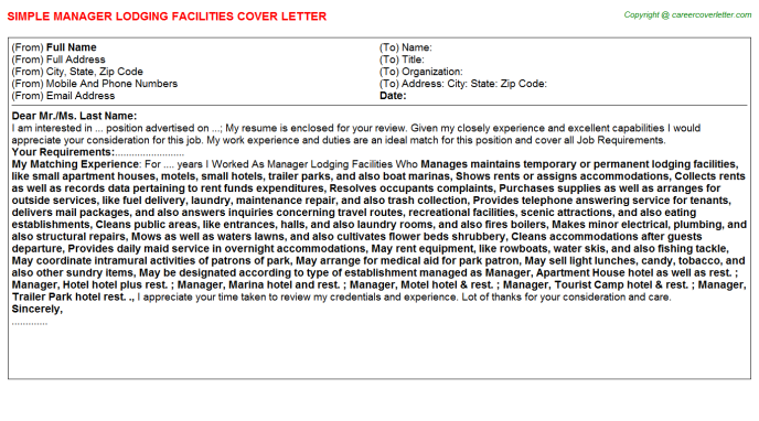 manager lodging facilities cover letter template