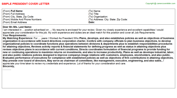 President Job Cover Letter Template