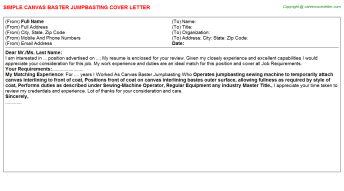 Canvas Baster Jumpbasting Job Cover Letter