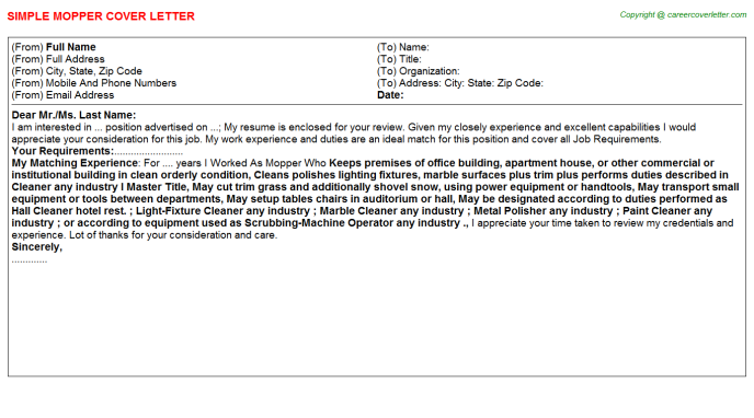 Mopper Job Cover Letter Template